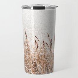 Typha reeds at frozen lake Travel Mug