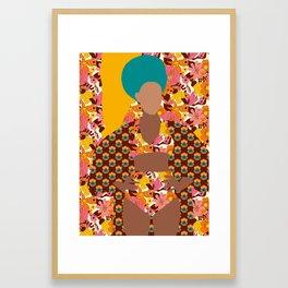 Tulip Kimono and Retro Floral Wallflower Framed Art Print