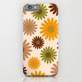 Retro 70s jumbo flowers autumn brown orange daisies iPhone Case