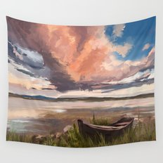 Sunrise over the lake Wall Tapestry