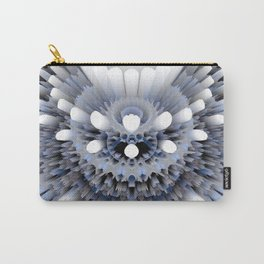 3D layers of mandala in blue-white-grey-black Carry-All Pouch