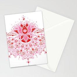 Lotus Blossom Mandala – Red & Pink Palette Stationery Cards