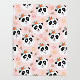 Panda bear with flowers seamless pattern Poster