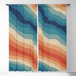 Retro 70s Stripe Colorful Rainbow II Blackout Curtain