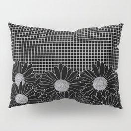 Daisy Grid Black Pillow Sham