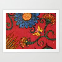 batik butterflies and flowers on red 2 Art Print