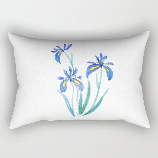 blue iris watercolor Rectangular Pillow