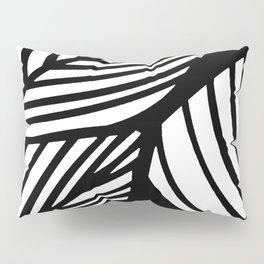Artistic Black And White Overlapping Leaves Abstract Pillow Sham