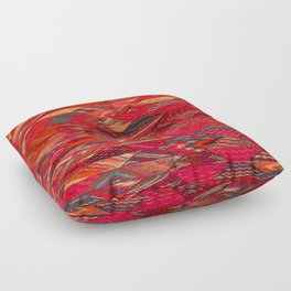 V35 Red Traditional Moroccan Artwork Pattern Floor Pillow