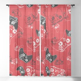 Video Game Red Sheer Curtain