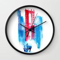 bridge Wall Clocks featuring Manhattan bridge by Robert Farkas