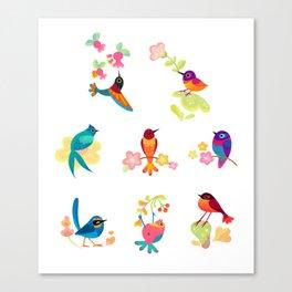 Flower and bird Canvas Print