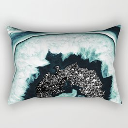 Icy Blue Agate with Black Glitter #1 #gem #decor #art #society6 Rectangular Pillow