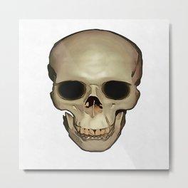 Antique Human Skull Metal Print
