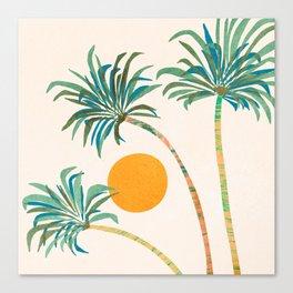 Summer Sunset Palms Canvas Print