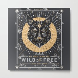 Wild & Free Wolf – Gold & Grey Metal Print