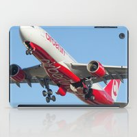 airplanes iPad Cases featuring Air Berlin Airbus A330-223 Take-off Miami airplanes USA D-ALPJ by Yan David