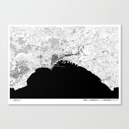 NAPOLI BLACK & WHITE MAP Canvas Print