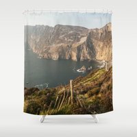 league Shower Curtains featuring Slieve League by Marie Carr