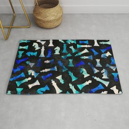 Chess Figures Pattern -Watercolor Blue and Teals Rug