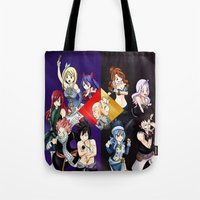 fairy tail Tote Bags featuring Fairy Tail Chapter 440 by Minty Cocoa