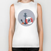 nautical Biker Tanks featuring Nautical  by Miracle