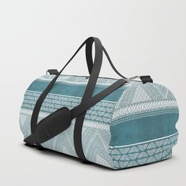 Dutch Wax Tribal Print in Teal Duffle Bag