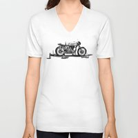 cafe racer V-neck T-shirts featuring Beer Savage Vintage Norton Cafe Racer by TCORNELIUS