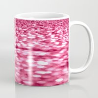glitter Mugs featuring Bubblegum Pink Glitter Sparkles by Whimsy Romance & Fun