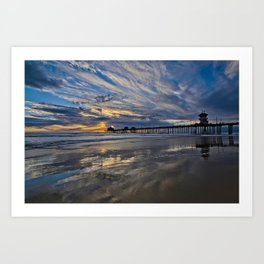 HB Sunsets  1/6/16   /  Sunset At The Huntington Beach Pier Art Print