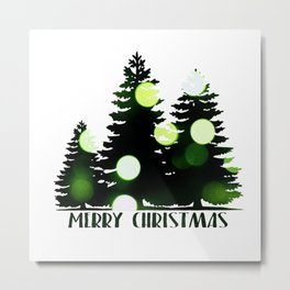 Merry Christmas - Bokeh Trees Metal Print