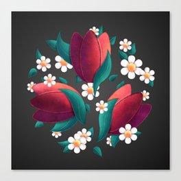 Bouquet (Tulipes et Marguerittes) Noir Canvas Print