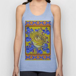 CORAL & BLUE LATTICE & YELLOW ROSE BLUE MORNING GLORY FLOWERS Unisex Tank Top