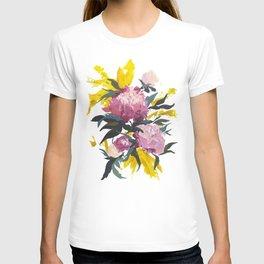 pivoine violette avec jaune T-shirt