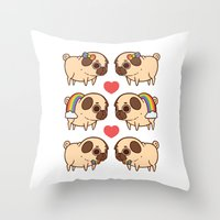 asexual Throw Pillows featuring Puglie Pride by Puglie Pug