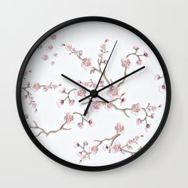 SAKURA LOVE - GRUNGE WHITE Wall Clock