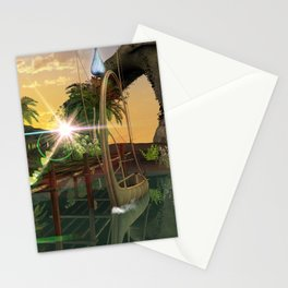 Beautiful latern boat at the jetty at night Stationery Cards
