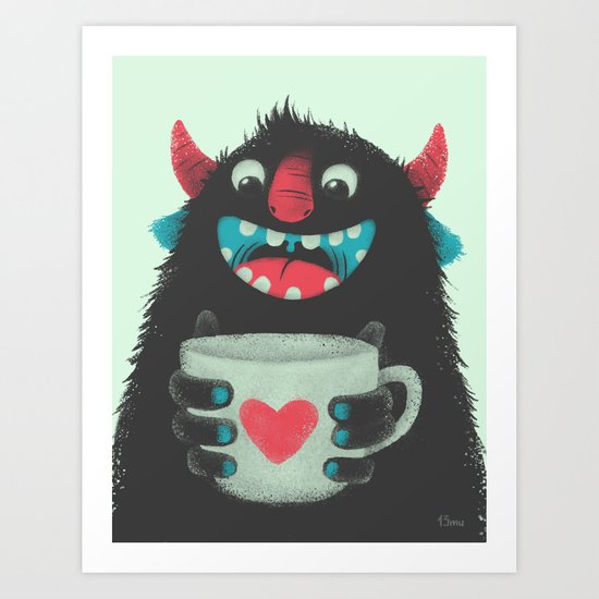 Demon with a cup of coffee Art Print
