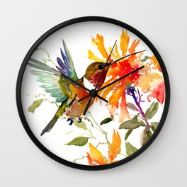 Hummingbird and Orange Floral Design, tropical Hawaiian Colors Wall Clock
