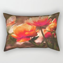 Brilliant Orange Rose And Butterfly Rectangular Pillow