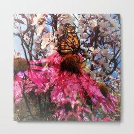 Flowers & Butterflies Metal Print