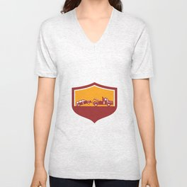 Tow Truck Towing Car Shield Retro Unisex V-Neck