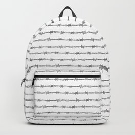 barbed wire stripe - white Backpack