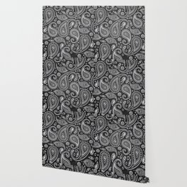 White sketches floral paisley on black bacground Wallpaper