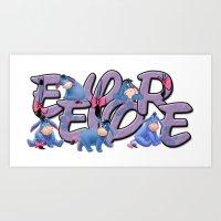 eeyore Art Prints featuring Eeyore  by Mix-Master