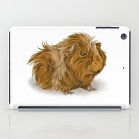 guinea pig iPad Cases featuring grumpy old guinea pig  by Devon Busby Busbyart