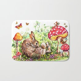 Bunny in Fairy Garden Bath Mat