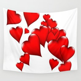 MODERN ART RED VALENTINES HEART  DESIGN Wall Tapestry