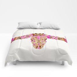 Water Buffalo Skull – Pink & Brown Comforters