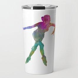 Woman in roller skates 08 in watercolor Travel Mug